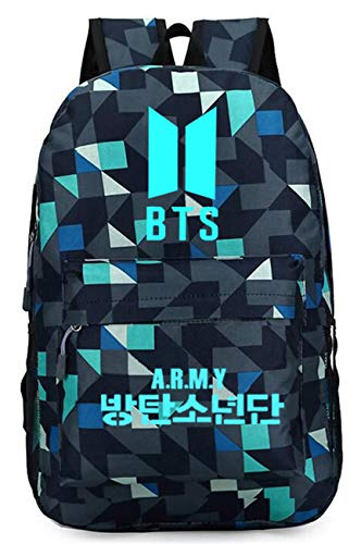 SERAPHY Unisex BTS Luminous nachtleuchtend Schulrucksack für Jungen und Mädchen GZ-Army-blau