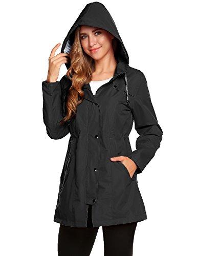 Romanstii cappotto impermeabile giacca a vento donna running pieghevole taglie comode (nero,m)