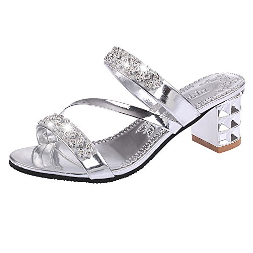 ZYUSHIZ Synthetischer Diamant Slipper kalten Felder mit Fett Frau Hausschuhe Sandalen und Hausschuhe Silber