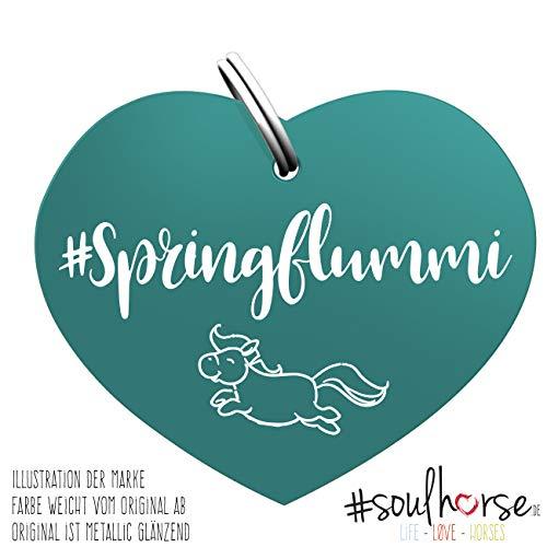 Soulhorse Marke Springflummi türkis - Glücksbringer für Pferde - Hundemarke, Pferdemarke - Glücksmarke für Sattel, Halfter & Trense