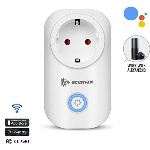 ACEMAX WIFI Smart Plug, Wireless Smart-Steckdose Funktioniert mit Amazon Alexa, Google Assistant, IFTTT, Timing-Funktion, Kein Hub erforderlich, Steuern Sie Ihre Geräte von überall (EU)