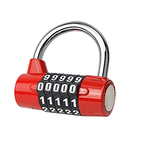 Reiseschloss sicher Passwort Gepäck Rucksack Tür Koffer Fitnessraum Vorhängeschloss 5 Ziffern Nummer Passwort Code Schlösser , red