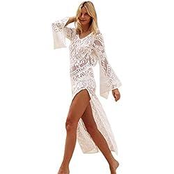 OverDose mujer de Manga Larga con Cuello en v sin Respaldo de Encaje Boho Sexy Lady Beach Summer Hawaii Vestido de Fiesta Maxi Vestido (M, Blanco)