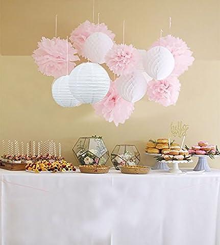 Anokay 12er Set Seidenpapier PomPoms Wabenbälle Laterne Lampion rund Lampenschirm weiß rosa Hochzeit Party