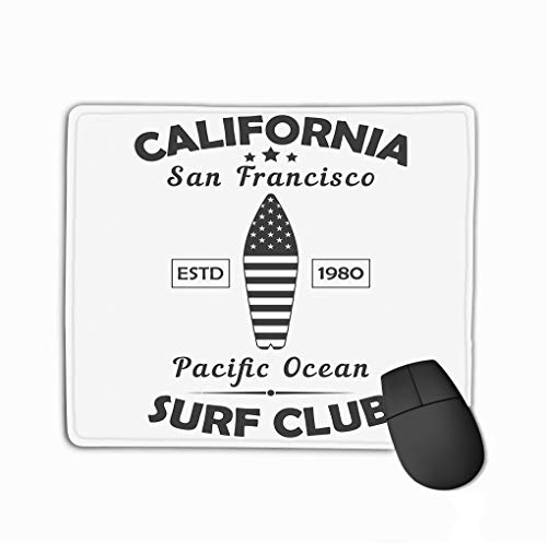Mouse Pad California san Francisco Typography Design Clothes Pacific Ocean surf Club Print Sport Apparel Rectangle Rubber Mousepad 11.81 X 9.84 Inch