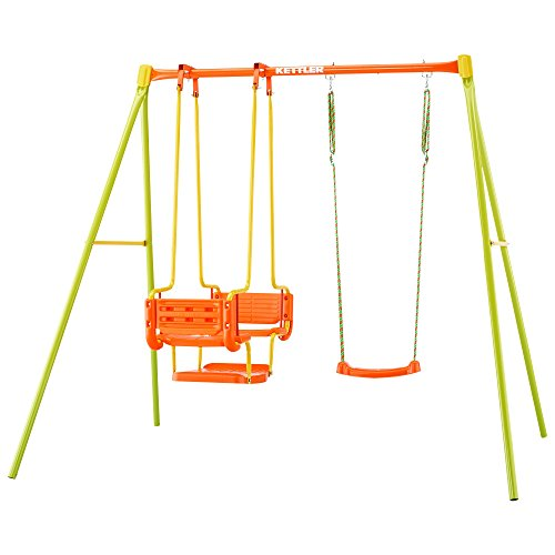 *Kettler Schaukel 3 – Gartenschaukel für Kinder – stabile Schaukel Kinder mit insgesamt drei Schaukelsitzen – mit Brettschaukel und Gondel – Qualität MADE IN GERMANY – orange & grün*