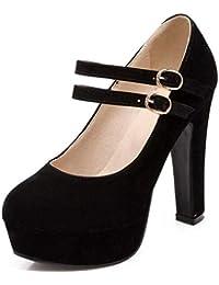 Zapatos con Tacón Alto para Mujer Plataforma Tobillo Correa Tacones Sexy Gamuza Impermeable Calzado de Vestir