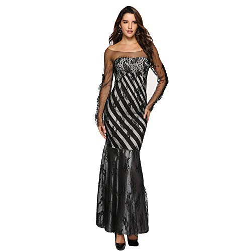 feiXIANG Abendkleider Ballkleid Meerjungfrau Etuikleid Patchwork Spitze langes Maxi Cocktailkleid Pencil Kleid (Schwarz,M) -
