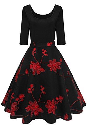 YMING Damen Rockabilly Kleid 50er Vintage Faltenrock Langarm Schwing Kleid Partykleid Abendkleid,Schwarz-Rot,M,DE 38 40 (Crêpe-faltenrock)