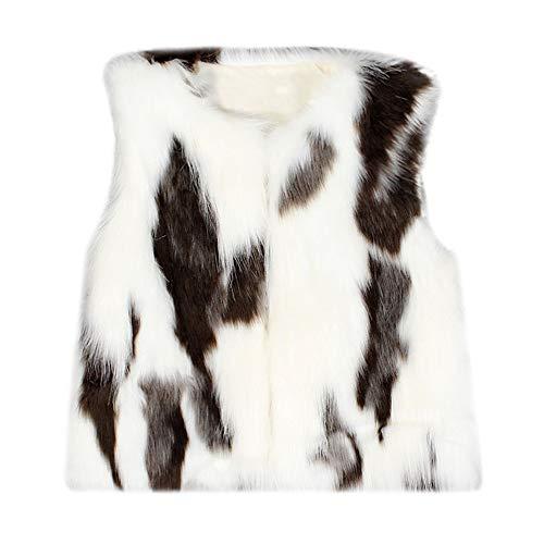 Kobay Kleinkind Kinder Baby Mädchen Winter Warm Kunstpelzweste Dick Mantel Outwear(2-3T,Weiß)