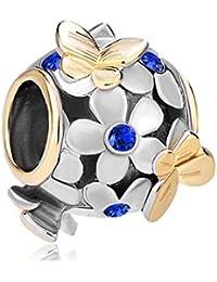 Uniqueen Abalorio para pulsera, diseño de mariposas y flores con cristales