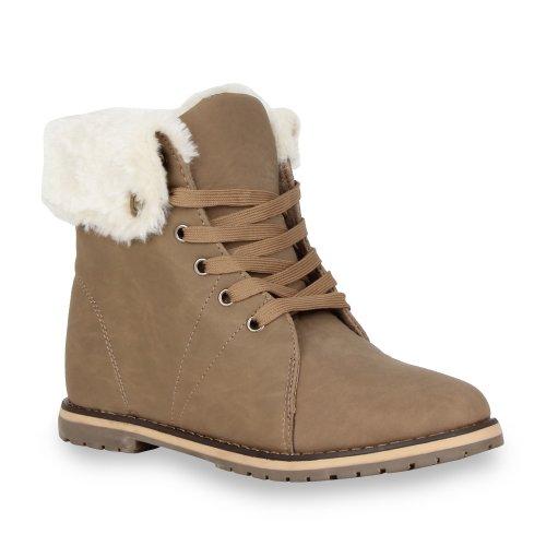 Blockabsatz Khaki Schuhe Boots Gefüttert Warm Damen Worker Mit qZT0Y