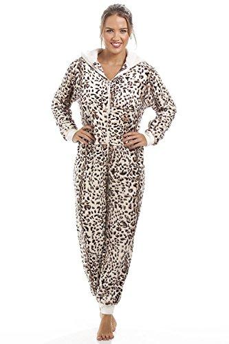 Combinaison pyjama toute douce - imprimé léopard Marron