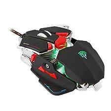 Gaming Maus, EasySMX Combaterwing Professionelle 4800 DPI optische USB Gaming-Maus mit 10 programmierbaren Tasten und RGB-LED Atmen für Computer und Laptop (Schwarz)