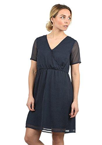 BlendShe Charlotte Damen Freizeitkleid Kleid Mit V-Ausschnitt Knielang, Größe:S, Farbe:Peacoat dot (24012) (Midi-arbeit Kleider)