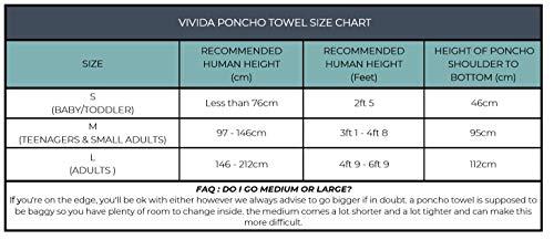 Vivida Lifestyle Poncho mit Kapuze Handtuch und Umziehilfe am Strand, beim Surfen und Schwimmen verwendbar - Blau/Grau, L (Erwachsene)