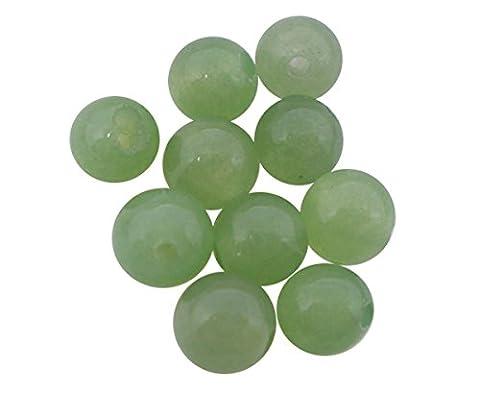 HOUSWEETY Bijoux Accessoires - 100 Perles Boule en Aventurine Imitation Jade Vert Clair 6mm