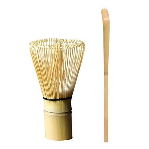 BESTONZON Juego de Batidor de Matcha de Bambú y Cuchura para Herramientas de Cremonia de Preparar Matcha 2pcs