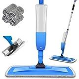 Balais Serpillère, Bellababy Spray Mop avec 4 Tampons de Vadrouille de Rechange, Balai Plat pour la Maison, la Cuisine, le Bo
