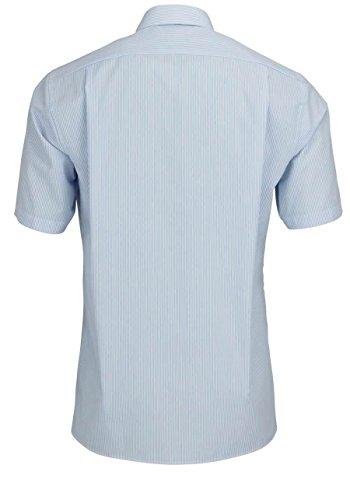 OLYMP Luxor modern fit Hemd Halbarm Zündholzstreifen hellblau Blau