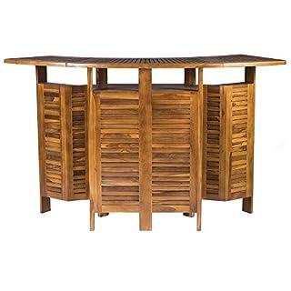 Table de Bar Extensible en Bois pour L'extérieur - Meuble de Jardin Extensible et Pliable en Teck Massif de Haute Qualité, Résistant aux Intempéries - Idéale pour Jardin, Patio, Fêtes et Plus