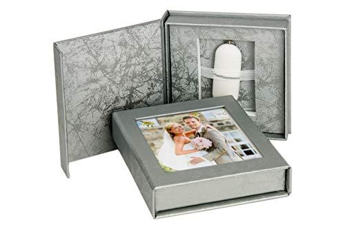 Elegantdisk Hochzeit USB-Box mit Bildfenster. Silber