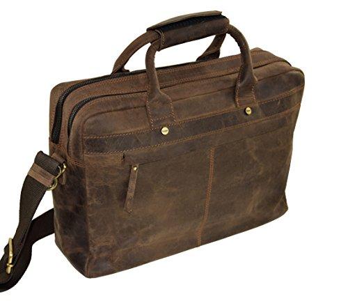 Menzo Businesstasche, Aktentasche, Lehrertasche aus echten Leder, Messenger Bag, Schule, Uni, Arbeit marrone