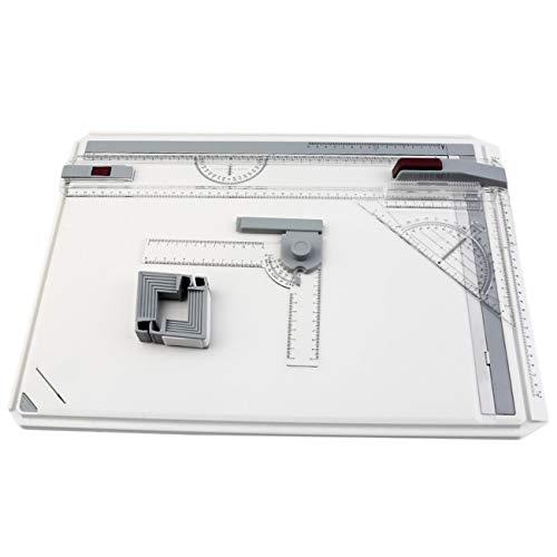 Elviray Tragbarer A3-Reißbrett-Tisch mit parallel beweglicher, winkelverstellbarer Zeichner-Palette für Malwerkzeuge -
