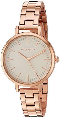 Karen Millen Women's Quartz Watch with Rose Gold Dial Analogue Display and Rose Gold Stainless Steel Bracelet KM126RGM