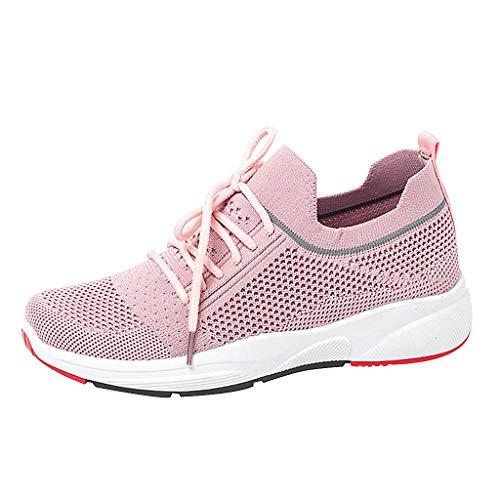 CUTUDE Sneaker Damen Sportschuhe Socken Schuhe Outdoor Schuhe Freizeit Slip On Bequeme Freizeitschuhe Atmungsaktiv Mesh Turnschuhe Laufschuhe Schnürschuhe (Rosa, 41 EU) -