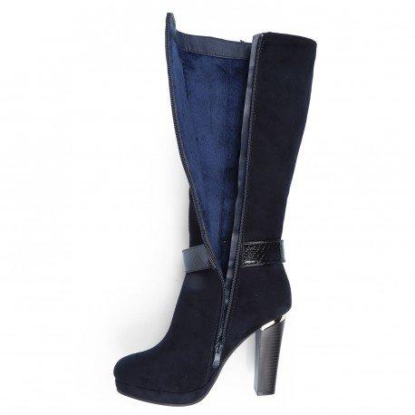 Ideal Shoes - Bottes effet daim décorées d'un ceinturon verni effet reptile Raquel Marine