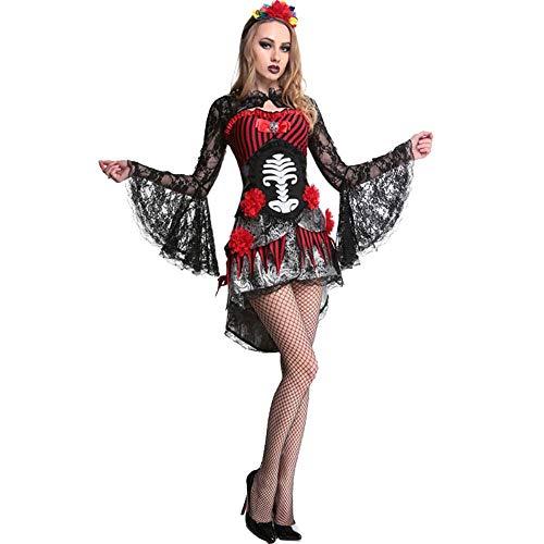 Halloween Cosplay Cosplay Kostüm Skelett Muster Vampir Braut Einheitliche, Schwarz, Eine - Skelett Kostüm Kontakte