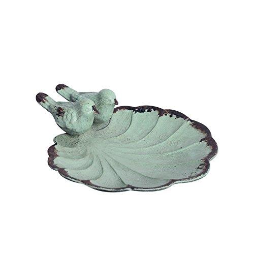 NIKKY HOME Shabby Chic Deko-Schale mit Metall Vogel und Blatt Form, 11,1 x 11,1 x 4,1 cm, Distressed Grün …
