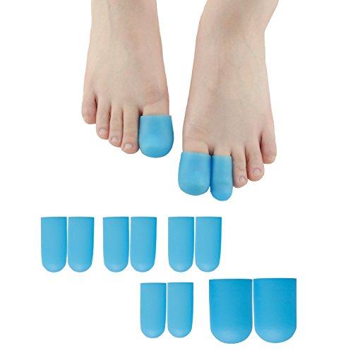 Protecciones en punta para gel Sumifun, 10 piezas Toe Sleeves Cojines para proteger el dedo del pie, Prevenir callo y ampollas, Protector del dedo del pie de silicona para mujeres y hombres