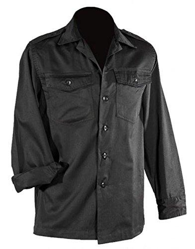 US Army hochwertiges langärmliges oder kurzärmliges Hemd Größe S-XXXXXL Übergröße Farbe Schwarz oder Khaki (XXL, Langarm Schwarz) (Moleskin Jagd-shirt)