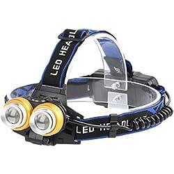 Youdong Projecteur de Phare 2T6 Rechargeable pour monté sur la tête Lampe Frontale LED Puissante Torche Phare Course Camping randonnée Chasse pêche Lumière Nuit lumière extérieure portative