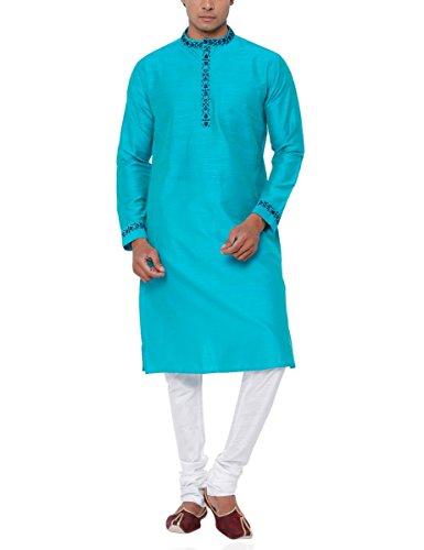 SVANIK Men's Knee Length Kurta (SVELK1839_X-Large_Light Turquoise Blue)