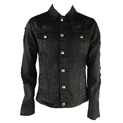 S-JACOL Black Polished Jackets, Herren Distressed Destroyed Trucker Denim Jacke - Schwarz - X-Groß Distressed Denim Jacket