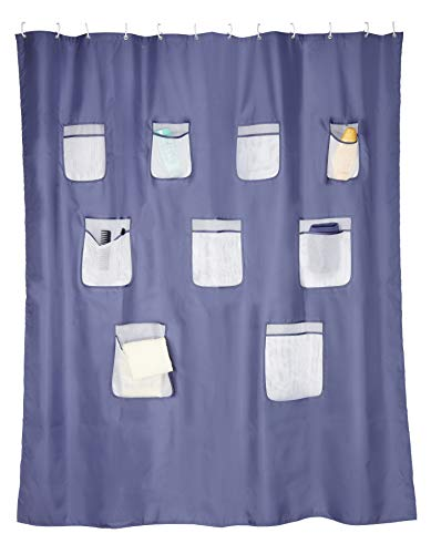 BellaBad Duschvorhang mit Taschen für Badutensilien 180 x 200 cm (blau)