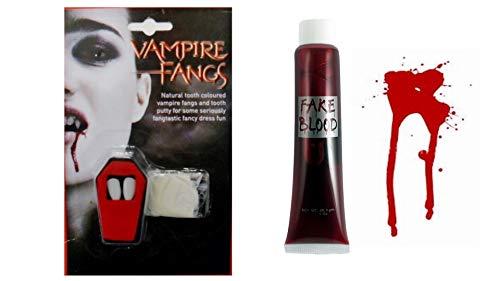 M F D Dracula Vampire Fangs Kappen mit Zähnen und falschem Blut, Halloween-Kleid