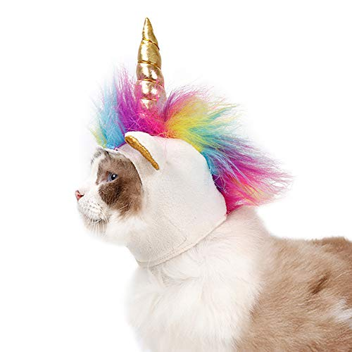Haustier Kostüm Katze Einhorn Hut Cosplay Kopfbedeckung Mähne Kappe für Hund und Katze Halloween Weihnachtsfeier Hut Kostüm anziehen (Einhorn Kostüm Für Katzen)