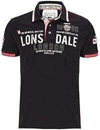 Lonsdale London Männer Poloshirt Sellindge schwarz - fällt normal aus, figurbetont geschnitten
