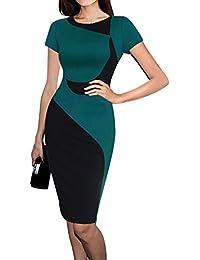 Gladiolus Vestido de Noche Vintage Bodycon Elegante Manga Corta Vestido de Novia para Mujer L Verde