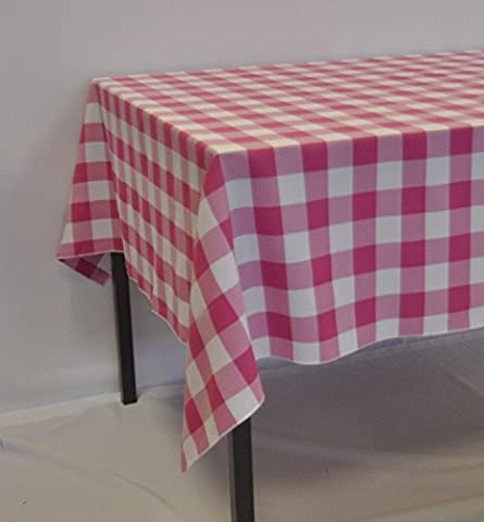 Pink and White Check Gingham Polyester Square Tablecloth 48 x 48