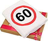 Geschenk-Handtuch zum 60 Geburtstag mit aufgesticktem Verkehrszeichen für Mann und Frau - eine praktische 60 jähriges Jubiläum Geschenkidee - ein dauerhaft nützliches 60 Jahre Geburtstagsgeschenk