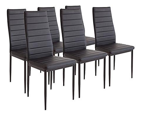 Albatros 2698 Milano 6 x chaise de salle à manger noir