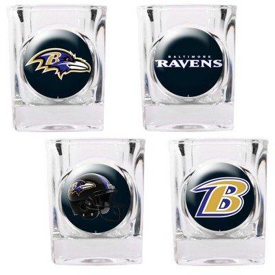 Great American NFL Baltimore Ravens Vier Stück Quadratisch Schnapsglas Set (Individuelle Logos)