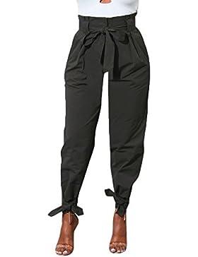 Tomwell Mujer Casual Elegante Cintura Alta Color Sólido Pantalón Largos Pantalones Anchos Pierna Pantalones con...