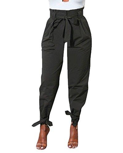 Minetom Femme Été Couleur Unie Pantalons Taille Haute Slim Legging Cargo Casual Crayon Chic Large Pantalons avec Ceinture Noir EU S