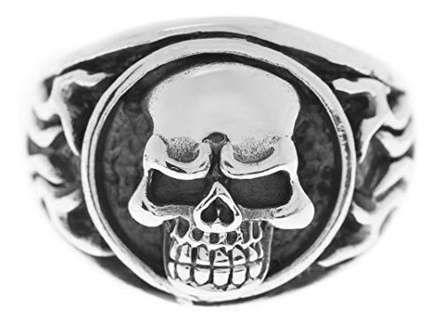Windalf Biker Ring Kult 1 cm Totenkopf Ring Skull 925 Sterlingsilber (Silber, 68 (21.6)) (Biker-ringe Für Männer 925 Silber)